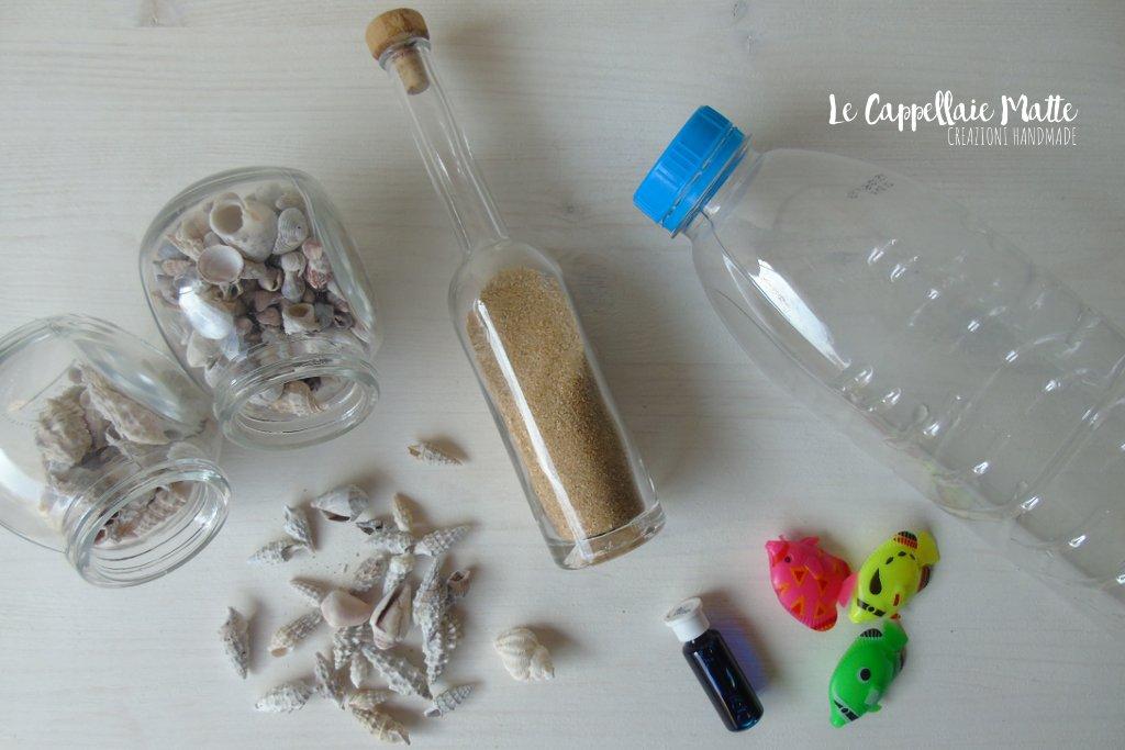 Bottiglia sensoriale mare diy
