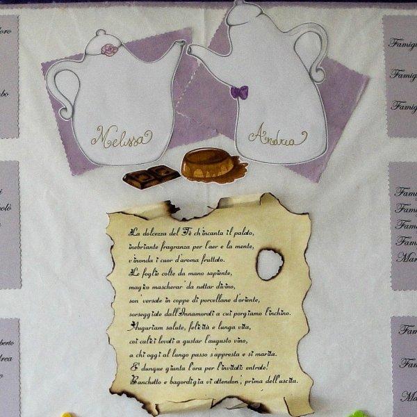Tableau mariage handmade matrimonio tema tè - Le Cappellaie Matte
