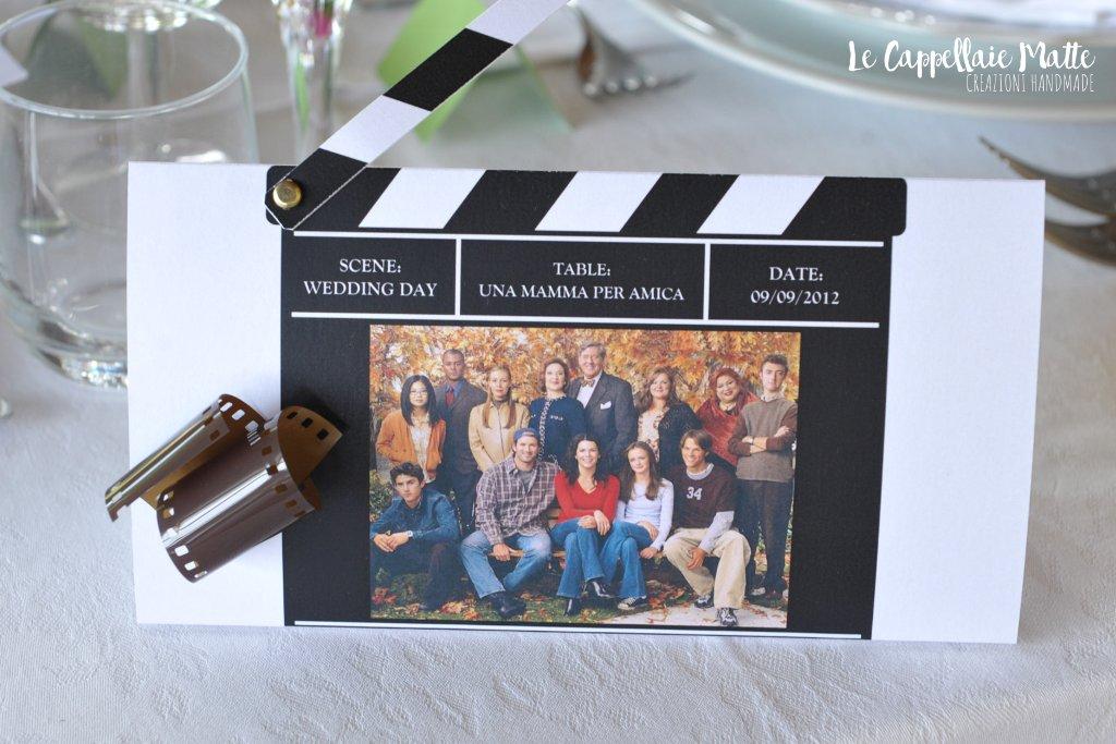 Segnatavolo handmade matrimonio tema telefilm