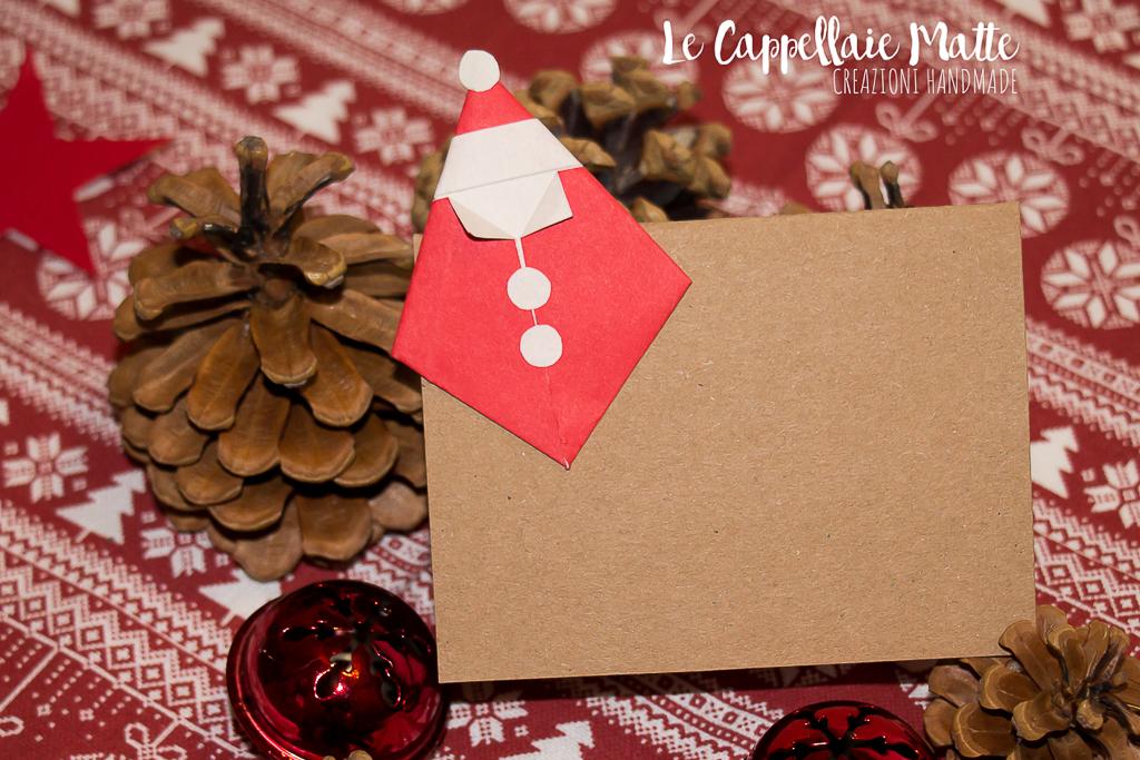 Segnaposto Natale origami faidate diy Babbo Natale