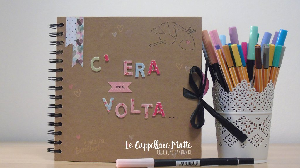 Scrapbooking Album Nascita bimba handmade fai da te