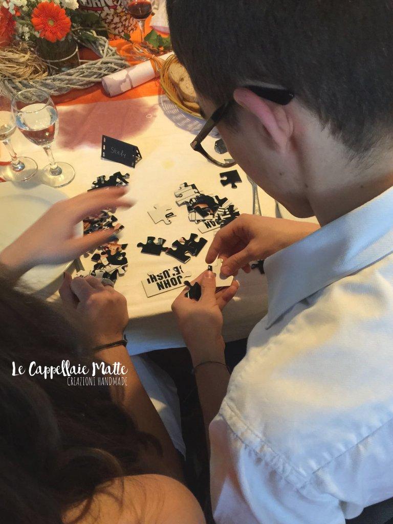 Marimonio segnatavolo handmade tema cinema puzzle
