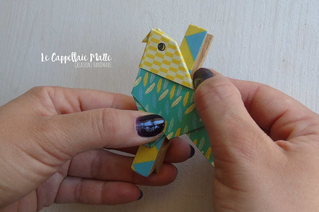 Molletta chiudipacco origami pappagallo