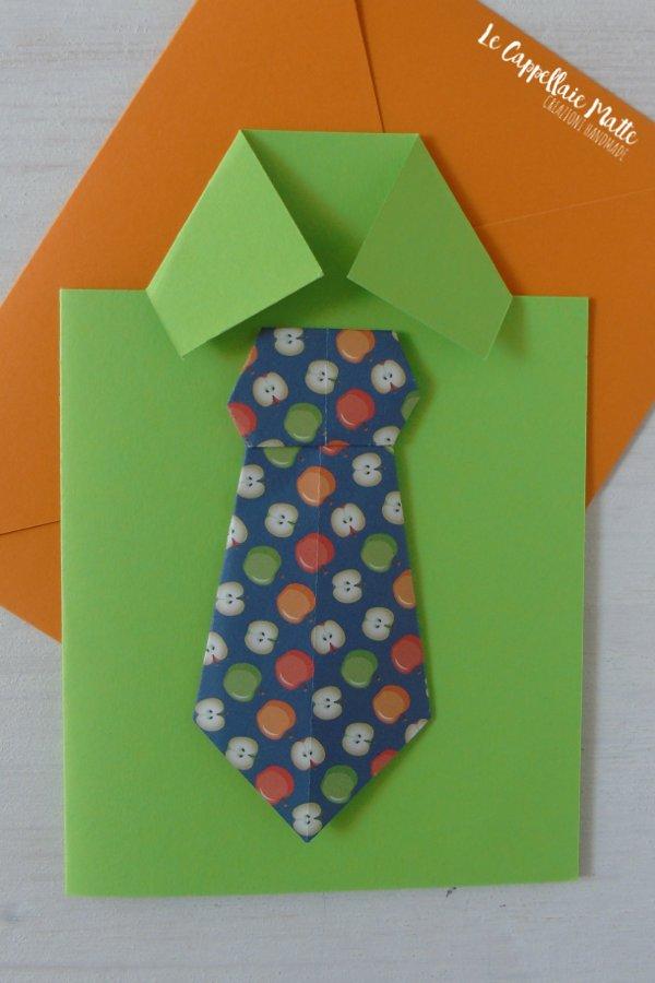 Biglietto auguri Camicia e Cravatta Origami